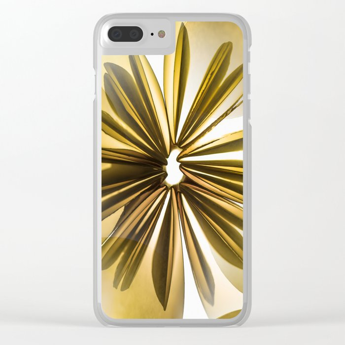 Origami Flowers Golden Tones #decor #society6 #buyart Clear iPhone Case