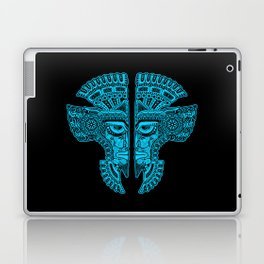 Blue and Black Aztec Twins Mask Illusion Laptop & iPad Skin