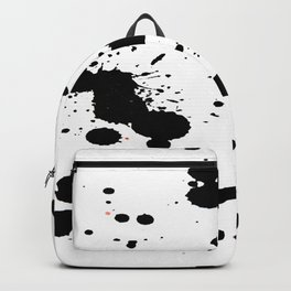 Black Paint Splatters on White Background Backpack