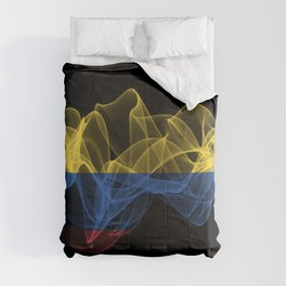 Colombia Smoke Flag on Black Background, Colombia flag Comforters