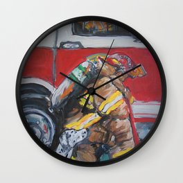 Praying Fire Fighter Wall Clock