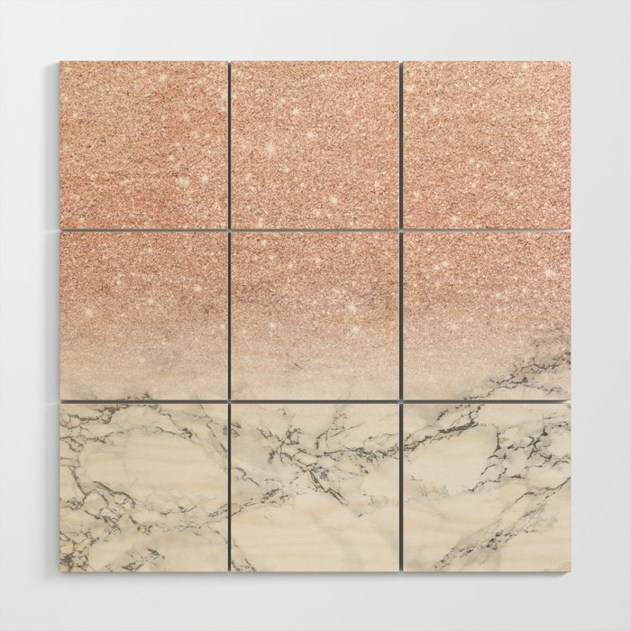 Modern faux rose gold pink glitter ombre white marble Wood Wall Art ...