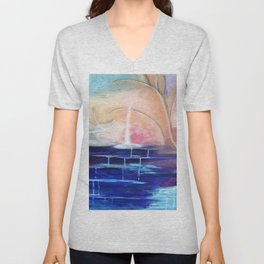 Flourescent Waterfall Painting. Waterfall, Abstract, Blue, Pink. Water. Jodilynpaintings. Unisex V-Neck