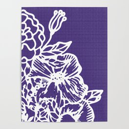White Flowery Linocut Wreath On Checked UltraViolet Poster