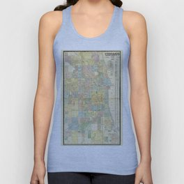 Map of Chicago, Illinois by J. Van Vechten (1863) Unisex Tank Top
