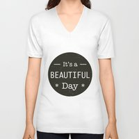 u2 V-neck T-shirts featuring It's a beautiful day - U2 / QUEEN song title by Little Fish Creations