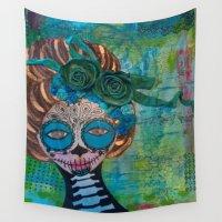 dia de los muertos Wall Tapestries featuring Dia de los Muertos by inara77