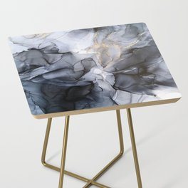 Calm but Dramatic Light Monochromatic Black & Grey Abstract Side Table