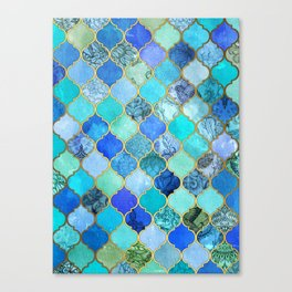 Cobalt Blue, Aqua & Gold Decorative Moroccan Tile Pattern Canvas Print