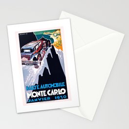 1930 Monaco Rallye Monte Carlo Racing Poster Stationery Cards