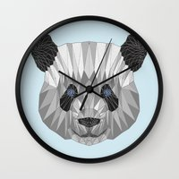 panda Wall Clocks featuring panda by Nir P