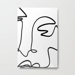 Blind Contour Line Drawing Metal Print