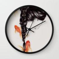 hair Wall Clocks featuring Hair Sequel III by The White Deer