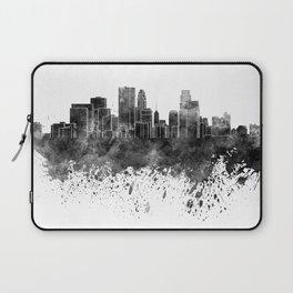 Minneapolis skyline in black watercolor on white background Laptop Sleeve
