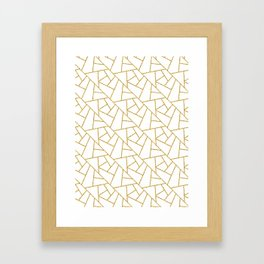 Gold and White Abstract Geometric Glitter Pattern Framed Art Print