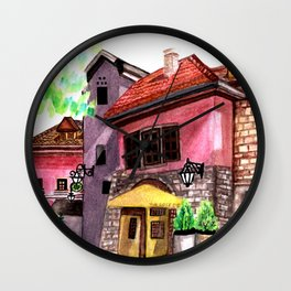 Vintage house street cafe Wall Clock