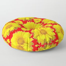 "YELLOW COREOPSIS ""TICK SEED"" FLOWERS RED PATTERN Floor Pillow"