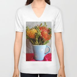 Flowers in a vase - with Pincushion Protea Unisex V-Neck