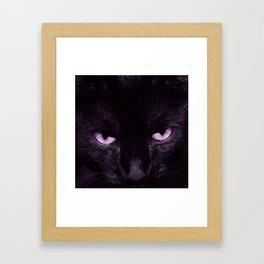 Black Cat in Amethyst - My Familiar Framed Art Print