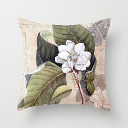Vintage White Magnolia Throw Pillow