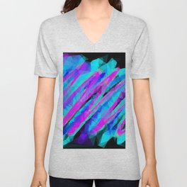 psychedelic geometric polygon abstract in pink blue with black background Unisex V-Neck