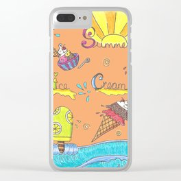 Summer Ice Creams and Popsicles Clear iPhone Case