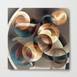 Autumn Circles Abstract Metal Print