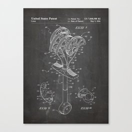 Climbing Anchor Patent - Rock Climber Art - Black Chalkboard Canvas Print