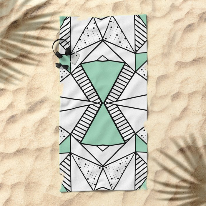 Ab Lines and Spots Mint Beach Towel