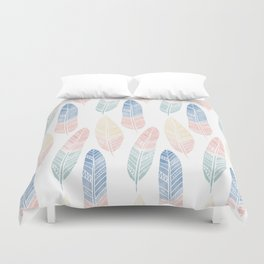 Cute boho pattern with colored feathers Duvet Cover