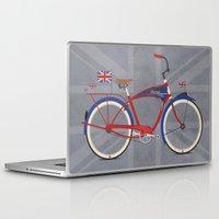 british flag Laptop & iPad Skins featuring British Bicycle by Wyatt Design