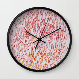 Brushed Red, Yellow, Silver Painting Wall Clock