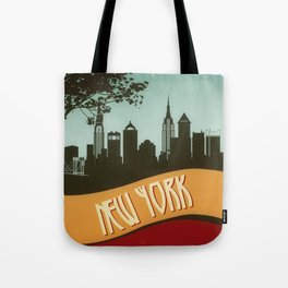 New York City Skyline NYC Retro Vintage Design  Description Tote Bag