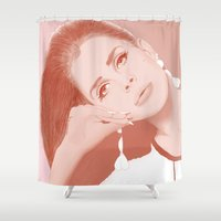lana Shower Curtains featuring LANA by Itxaso Beistegui Illustrations