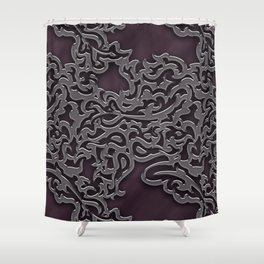 Floral embossing - plum Shower Curtain