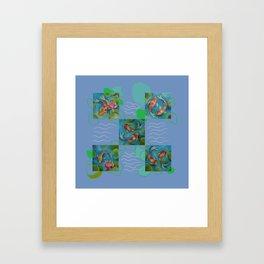 Koi Fish Pop Art collage with original paintings Framed Art Print