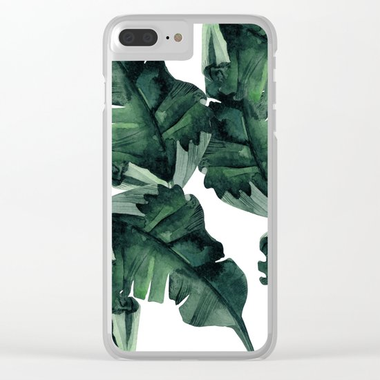 Banana Leaves Pattern Green Clear iPhone Case