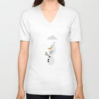 olaf V-neck T-shirts featuring Olaf (Frozen) by Robert Woods