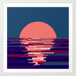 Block sunset Art Print