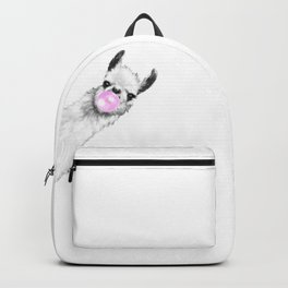 Bubble Gum Sneaky Llama Black and White Backpack