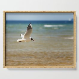 Seagull over the sea Serving Tray