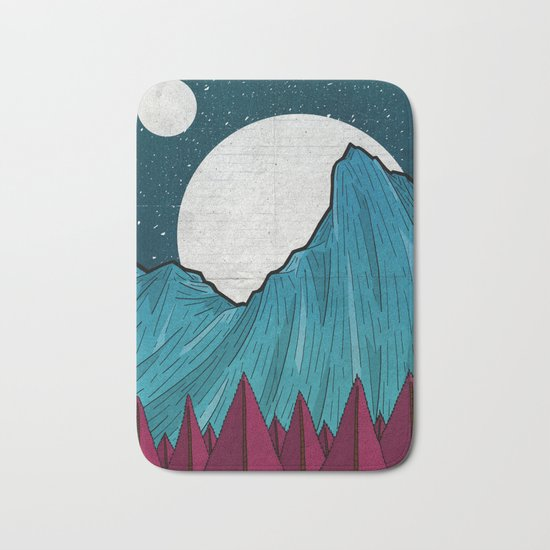 Two moons over the mountain Bath Mat