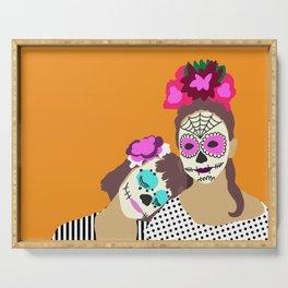 Sugar Skull Halloween Girls Orange Serving Tray