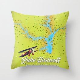 lake Hartwell Georgia and South Carolina USA map Throw Pillow