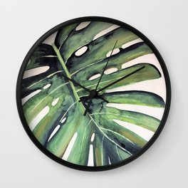 Watercolour Palm Leaf Print Wall Clock