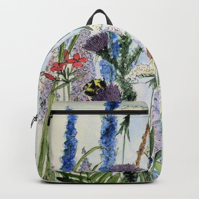 Wildflower in Garden Watercolor Flower Illustration Painting Rucksack