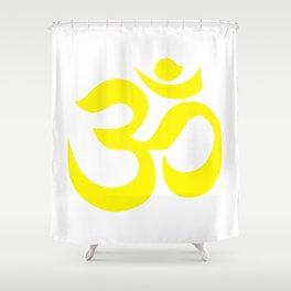 Yellow AUM / OM Reiki symbol on white background Shower Curtain