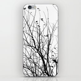 Black white tree branch bird nature pattern iPhone Skin