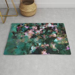 Contemporary Abstract Wall Art in Green / Teal Color Rug