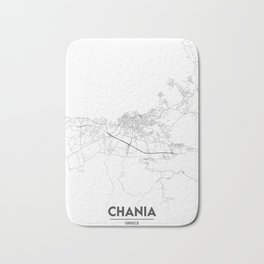 Minimal City Maps - Map Of Chania, Greece. Bath Mat